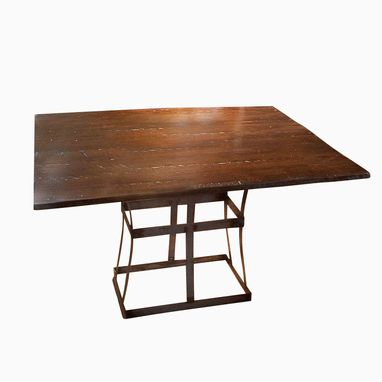 Custom Made Reclaimed Wood Dining Table With Contemporary Metal Base