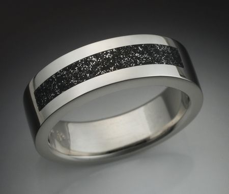 Custom Made 14k White Gold Mans Ring With Chondrite Meteorite Inlay