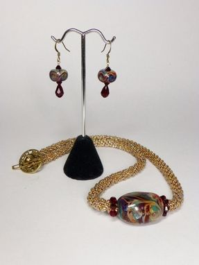 Custom Made Set - Transparent Gold Rainbow Kumihimo Necklace And Matching Earrings