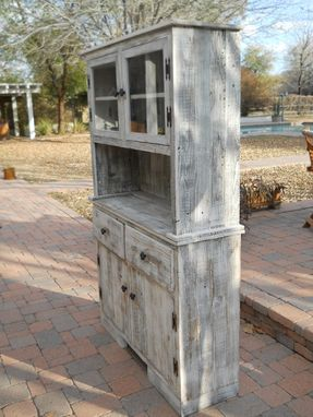 Handmade White Barnwood Hutch With Cabinets And Drawers By