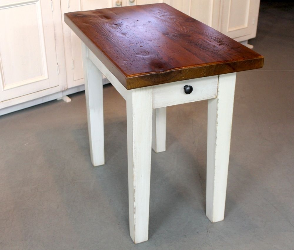 Custom Rustic White End Table By ECustomFinishes