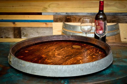 Custom Made Rare Xl Wine Barrel Top Lazy Susan