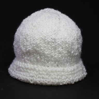 Custom Made Knit Baby Hat Cap Classic White Infant Warm