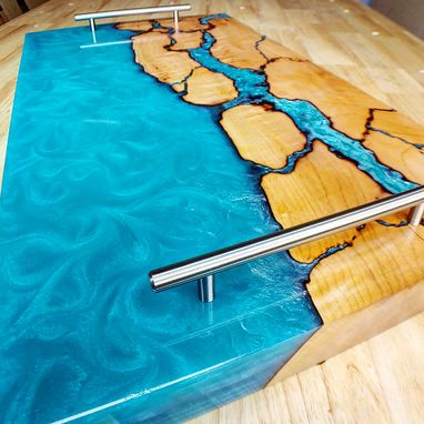 Custom Made Estuary Board - Serving Tray - Cheese Board - Cutting Board - Epoxy River - Fractal Burning