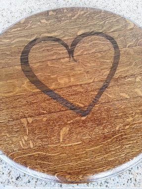 Custom Made Mother's Day Gift: Wine Barrel Lazy Susan With Heart Detail