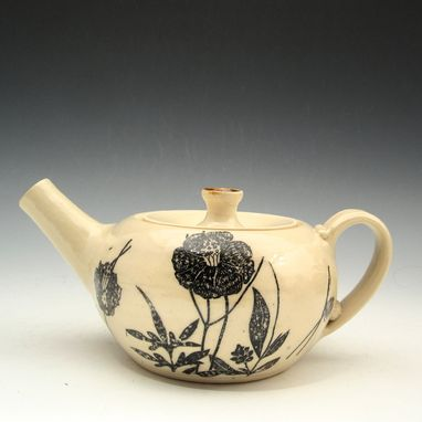 Custom Made Pottery Teapot In Black And White