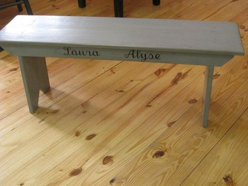 Custom Made Barn Wood Bench With Custom Artwork