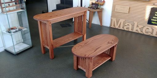 Custom Made Tracy's Stained Red Oak Coffee And Sofa Table Set