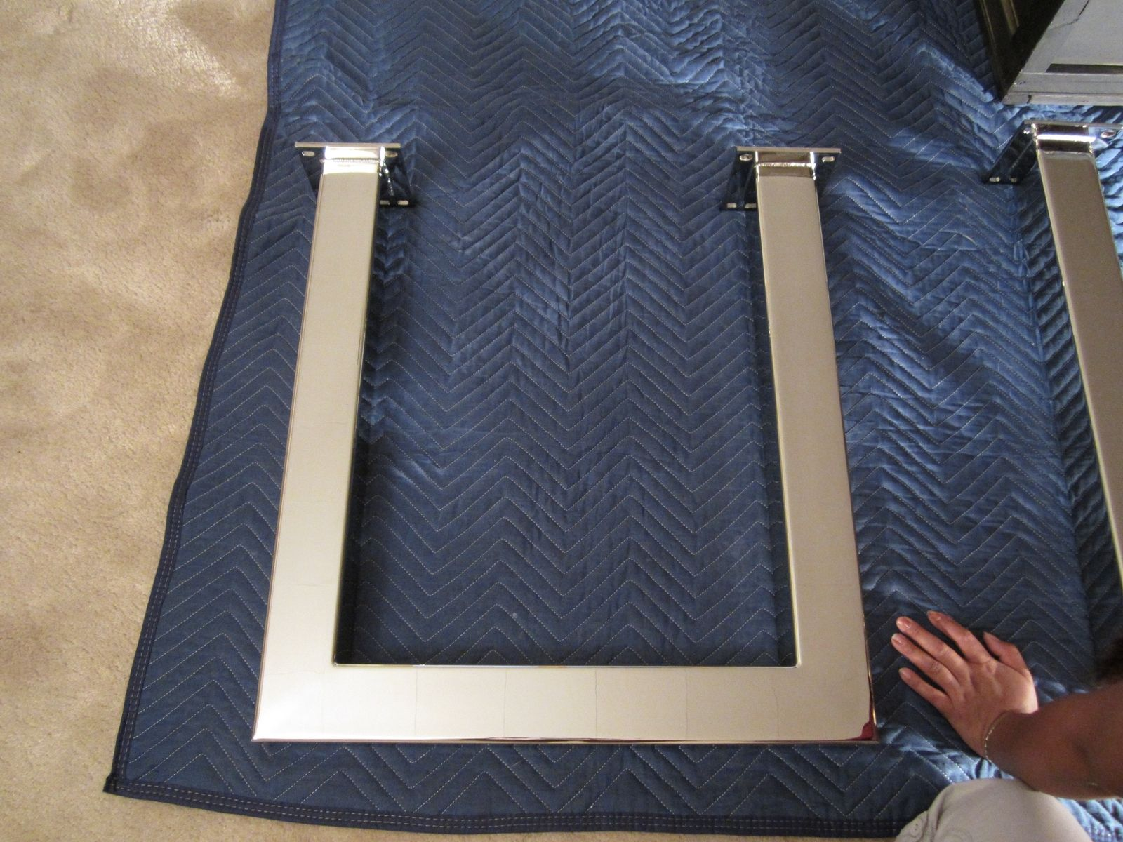 Hand Made Slab Edge Table Top Custom Chrome Stainless