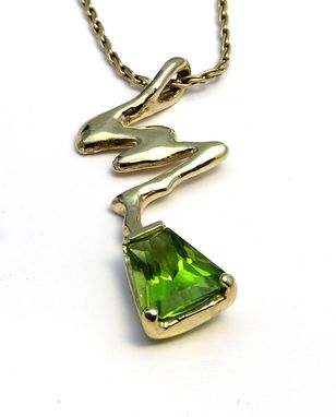 Custom Made Custom Pendant -Unique Lightning Bolt Pendant In 14k Gold & Trapezoid Peridot Gemstone