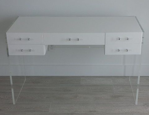 Custom Made Acrylic Desk - Multi Drawer Design - Hand Crafted, Made To Order Custom Size And Style Available
