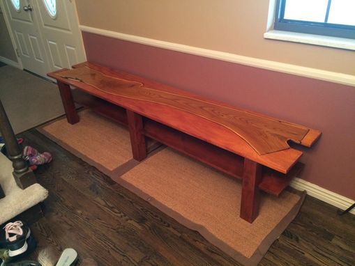 Custom Made Genkan Bench /  Entryway Bench With Captured Russian Olive Top