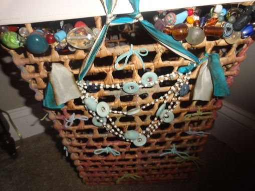 Custom Made Hand Beaded/Painted Decorative Laundry/Storage Basket
