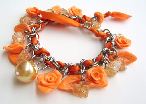 Custom Made Neon - Orange Stainless Steel And Polymer Clay Charm Bracelet - With Beautiful Assorted Beads