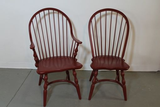 Custom Made Red American Windsor Dining Room Chairs
