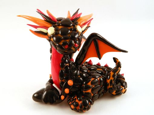 Custom Made Polymer Clay Fire Dragon Sculpture