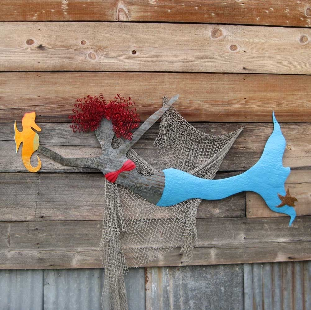 Upcycled Wall Art Hand Crafted Handmade Upcycled Metal Mermaid With Seahorse Wall