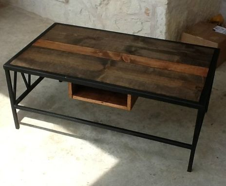 Custom Made Wood & Steel Coffee Table