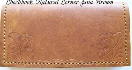 Custom Made Custom Leather Checkbook Cover With Natural Corner Design And In Java Brown