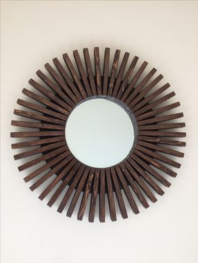 Custom Made Sunburst Round Wall Mirror Handmade Dark Walnut Color 26""