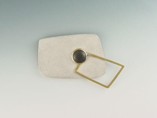 Custom Made Silver, Gold And Moonstone Brooch