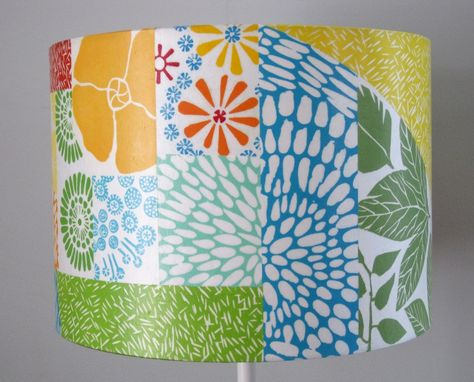 Custom Made Hand Printed Collage Lamp Shade