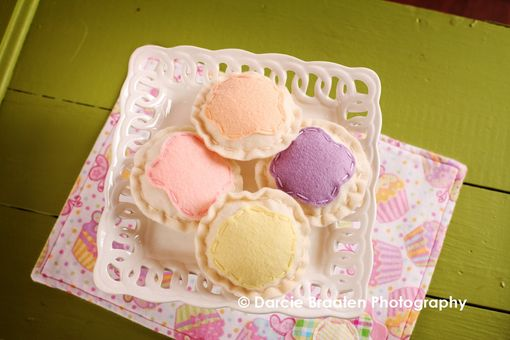Custom Made Frosted Felt Sugar Cookies In Pastel Colors