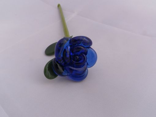 "Custom Made Cobalt Blue Glass Rose Ornament ""Blue Forever''"