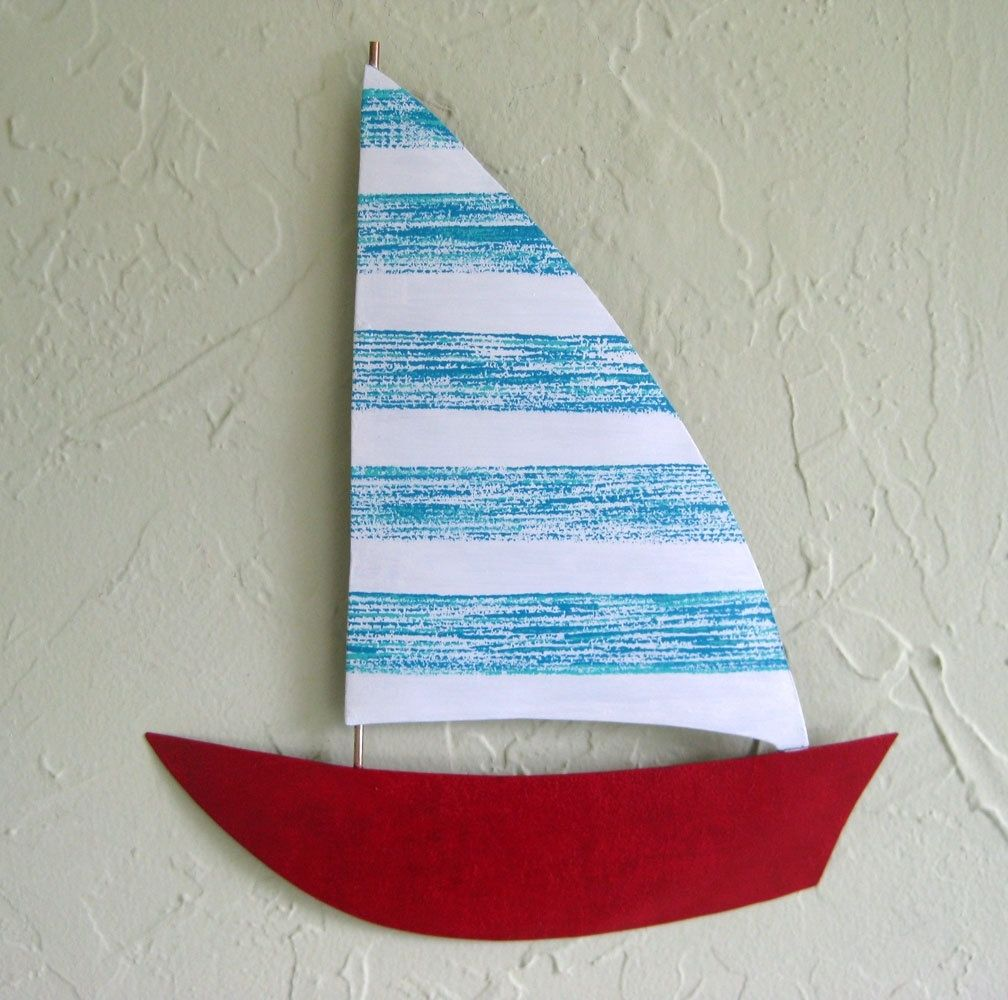 custom made handmade upcycled metal sailboat wall art sculpture in