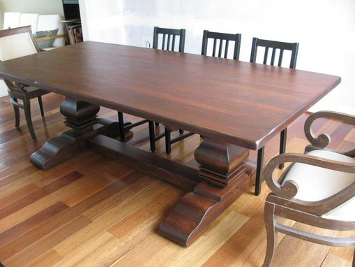Custom Made Rustic Cherry Double Pedestal Table