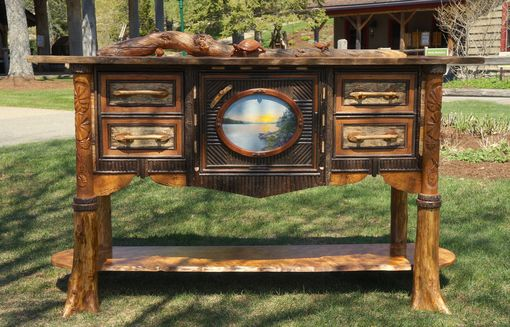 Custom Made Adirondack Aquatic Themed Sideboard