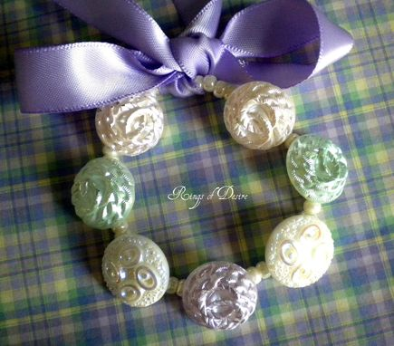 Custom Made Bracelet Vintage German Glass Buttons, Pastel Colors, Stretchy, Lavender Satin Ribbon