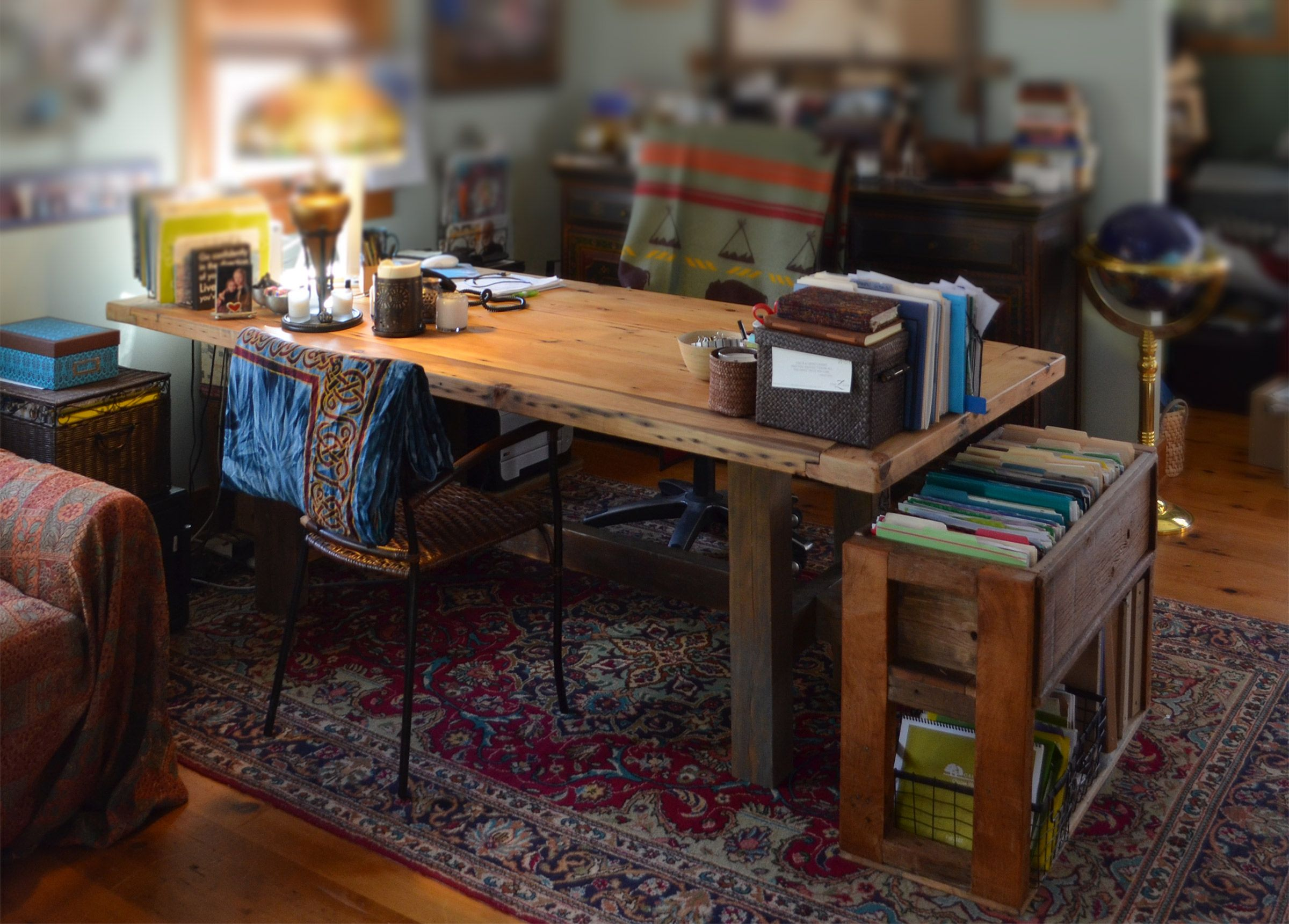 hand made rustic wood office desk and file storageabodeacious