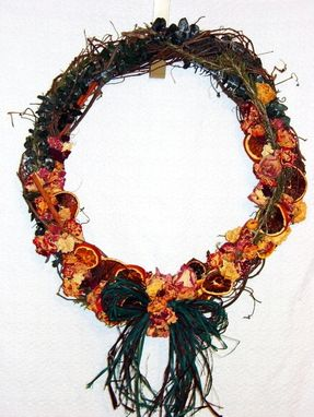 Custom Made Handmade Grapevine Wreath With Dried Roses And Oranges