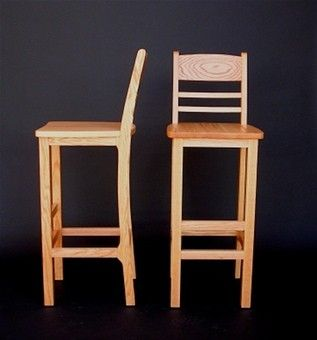 Hand Crafted 36 Inch Extra Tall Bar Stool In Red Oak By Hollis