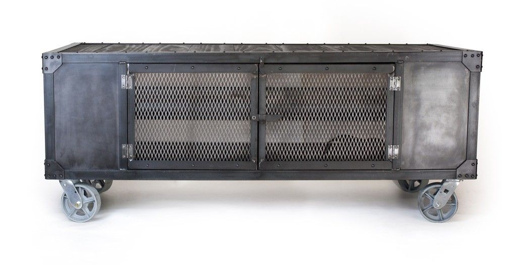 Handmade Rolling Steel Media Cabinet Industrial Occasional Table