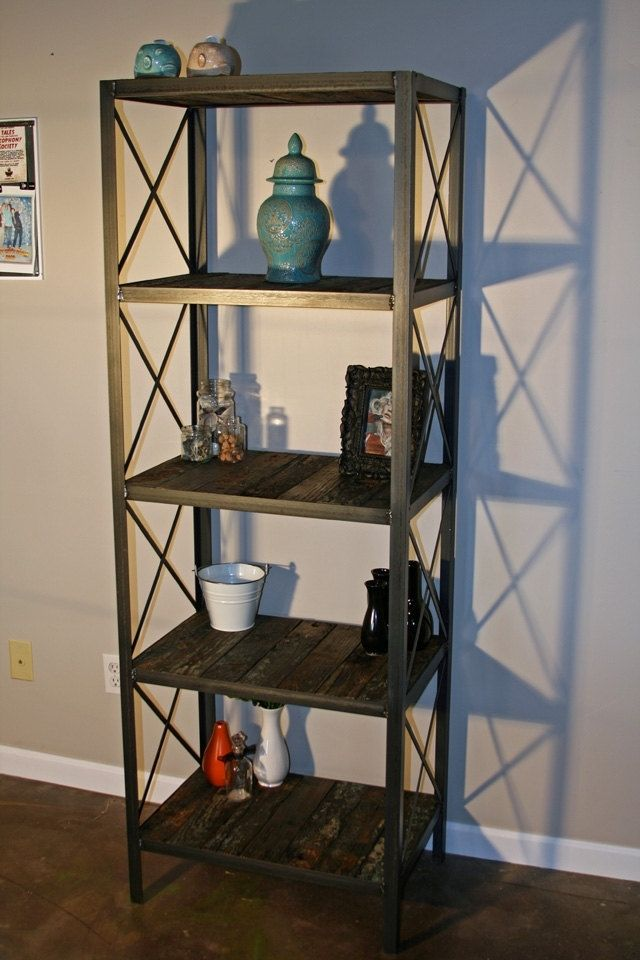 Custom Made Rustic Bookcase Shelving Unit Historical Reclaimed Wood Modern Vintage Anese
