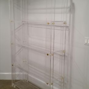 lucite acrylic bookcase button line handcrafted made to order custom sizing welcome - Acrylic Bookshelves