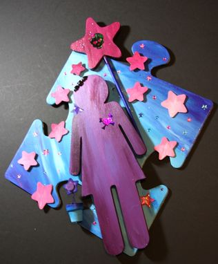 Custom Made Puzzle Piece Starry Sky Girl With Skull Magic Wand Mixed Media Art Wall Decor