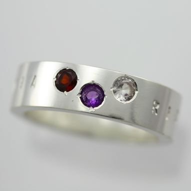 Custom Made 3 Stone Name Ring In Sterling Silver