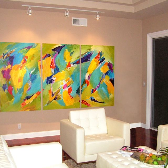 Hand Crafted Abstract Oil Painting On Canvas For Remodeled Living ...