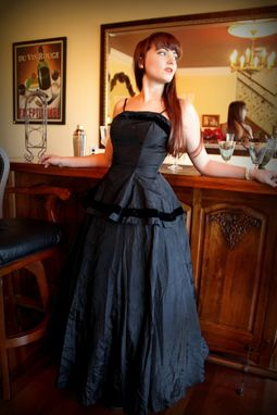 Custom Made Vintage 40s 50s Dress Skirt And Top Set In Back Silk Taffeta And Velvet By Mary Muffet Xs