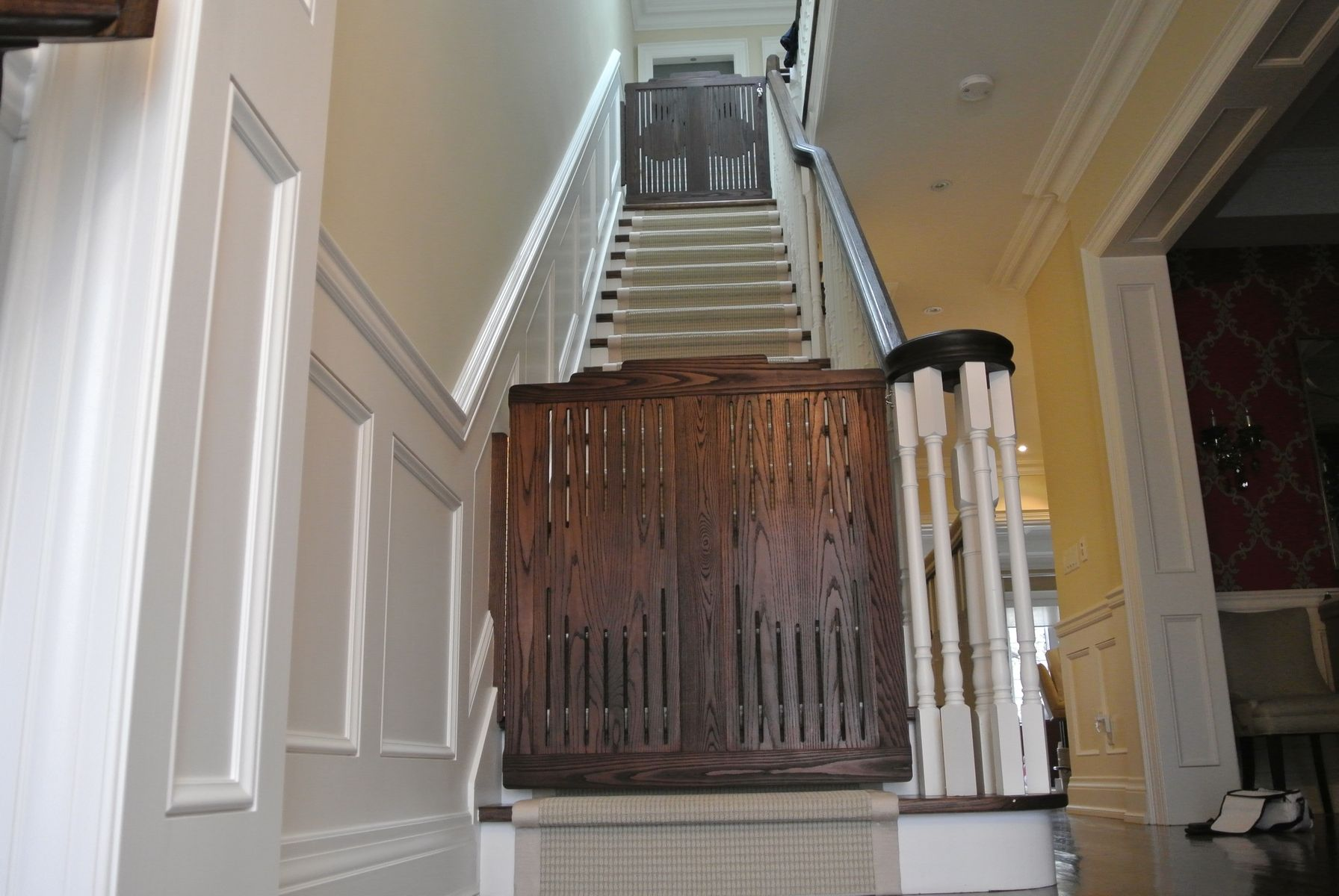 Hand made stair gates by hollow tree for Custom stair