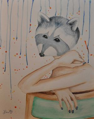 Custom Made Raccoon Eyes - 16x20 Original Watercolor