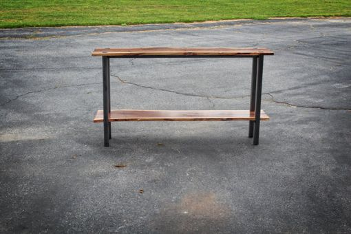 Custom Made Black Walnut & Steel Sofa Table