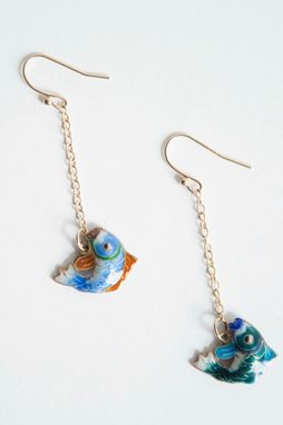Custom Made Sterling Silver 14 Kt Gold Vermeil Cloisonnã© Chinese Fish Earrings