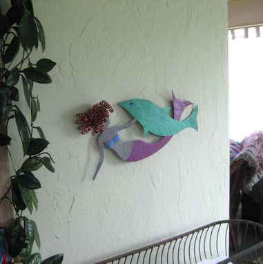 Custom Made Mermaid And Dolphin Wall Decor Sealife Art Recycled Metal
