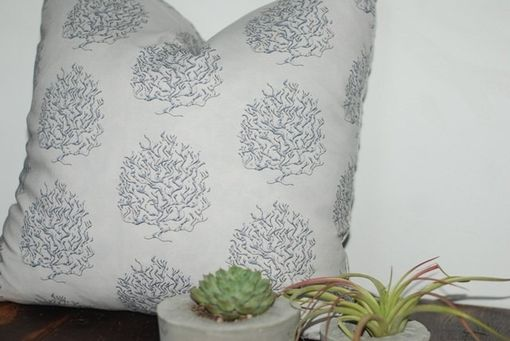 Custom Made Black And Blue Coral Pillow Cover - Garden Collection Pillow