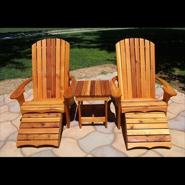 Custom Made Adirondack Wide Chair, Footstool, And Table Set