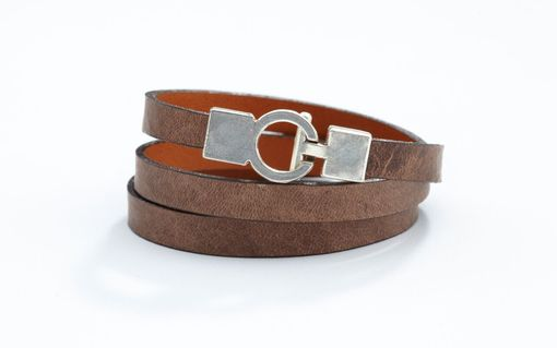 Custom Made Genuine Leather Triple-Wrap Bracelet In Elm (Light Brown)